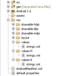 Esempio Android struttura cartella multilingua