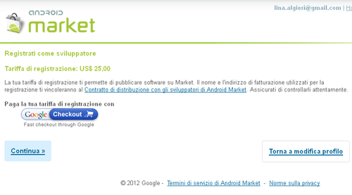Registrazione Android Market Google Checkout