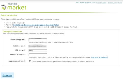 Registrazione Android Market